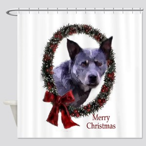 Australian Cattle Dog Christmas Shower Curtain