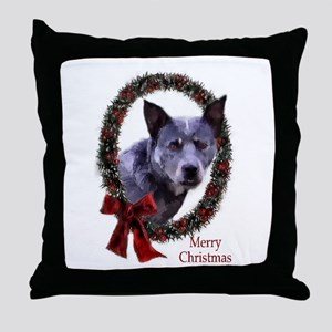 Australian Cattle Dog Christmas Throw Pillow