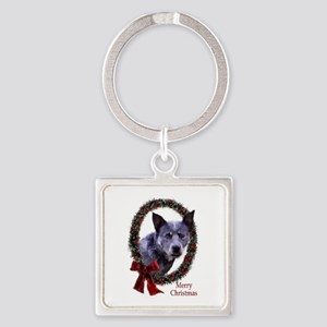 Australian Cattle Dog Christmas Square Keychain