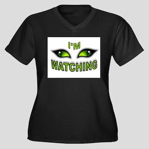 WATCHING Women's Plus Size V-Neck Dark T-Shirt