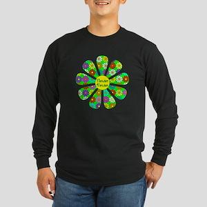 Cool Flower Power Long Sleeve Dark T-Shirt
