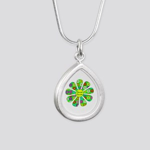 Cool Flower Power Silver Teardrop Necklace