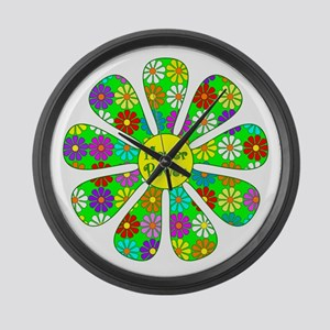Cool Flower Power Large Wall Clock