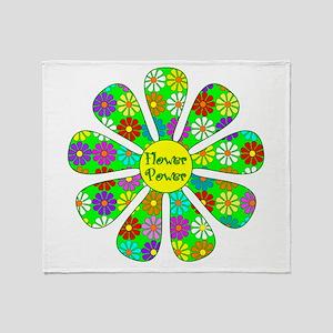 Cool Flower Power Throw Blanket