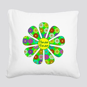 Cool Flower Power Square Canvas Pillow