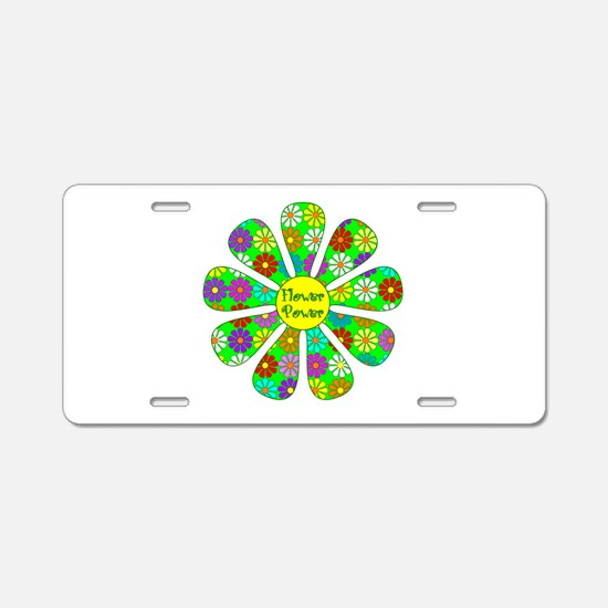 Cool Flower Power Aluminum License Plate