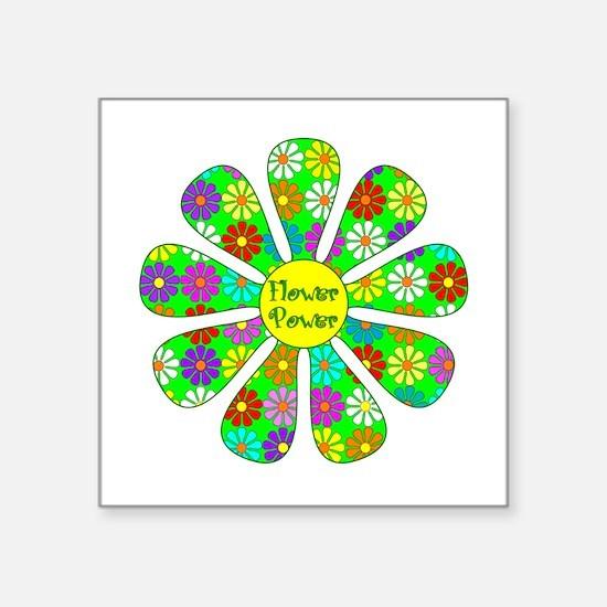 "Cool Flower Power Square Sticker 3"" x 3"""