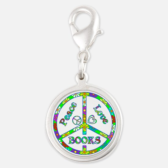 Peace Love Books Silver Round Charm