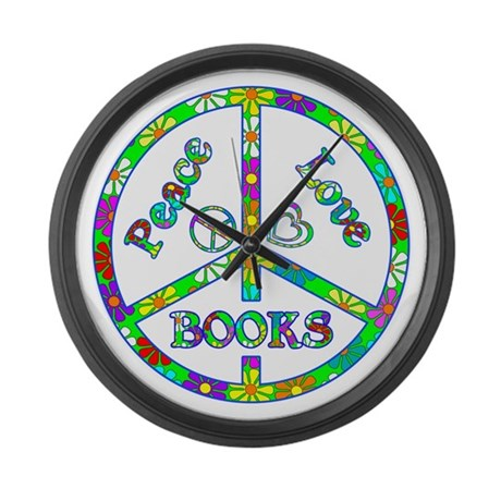 Peace Love Books Large Wall Clock