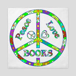 Peace Love Books Queen Duvet