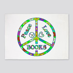 Peace Love Books 5'x7'Area Rug