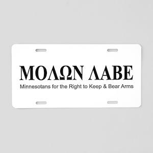 Molon Labe (black on white) Aluminum License Plate