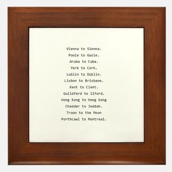 Rhyming journeys Framed Tile