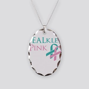 TEALkled Pink Necklace Oval Charm