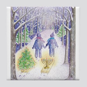 Chrismukkah Holiday Sleds Tile Coaster