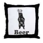 Vintage Beer Bear 1 Throw Pillow