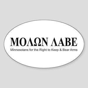 Molon Labe (black on white) Sticker (Oval 10 pk)