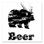 Vintage Beer Bear 2 Square Car Magnet 3