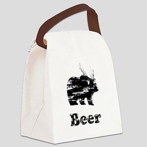 Vintage Beer Bear 2 Canvas Lunch Bag
