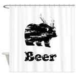 Vintage Beer Bear 2 Shower Curtain