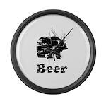 Vintage Beer Bear 2 Large Wall Clock