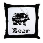 Vintage Beer Bear 2 Throw Pillow