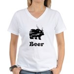 Vintage Beer Bear 2 Women's V-Neck T-Shirt