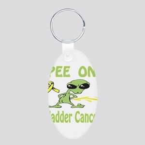 Pee on Bladder Cancer Aluminum Oval Keychain