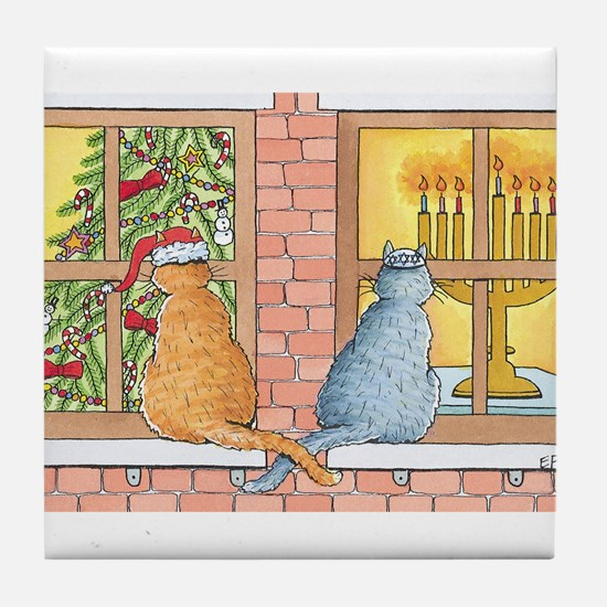 Chrismukkah Curious Cats Tile Coaster