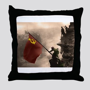 Russian Flag over the Reichstag in Color Throw Pil