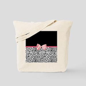 Leopard Pattern Pink Ribbon Tote Bag