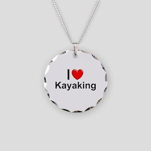 Kayaking Necklace Circle Charm
