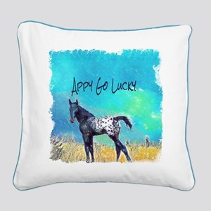 Appy Go Lucky Horse Square Canvas Pillow