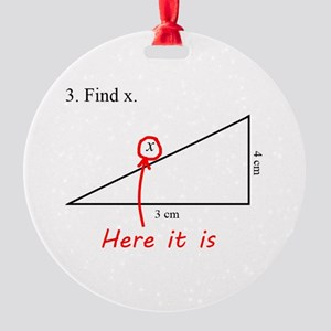 Find x Math Problem Round Ornament