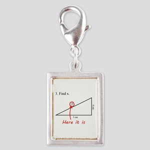 Find x Math Problem Silver Portrait Charm