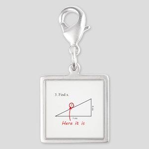 Find x Math Problem Silver Square Charm