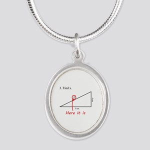 Find x Math Problem Silver Oval Necklace