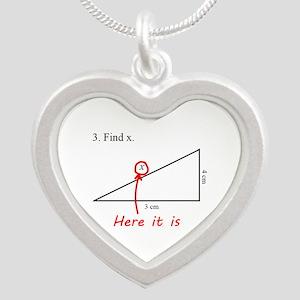 Find x Math Problem Silver Heart Necklace