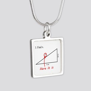 Find x Math Problem Silver Square Necklace