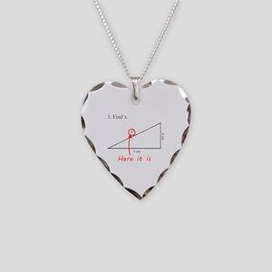 Find x Math Problem Necklace Heart Charm