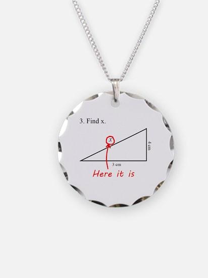 Find x Math Problem Necklace Circle Charm