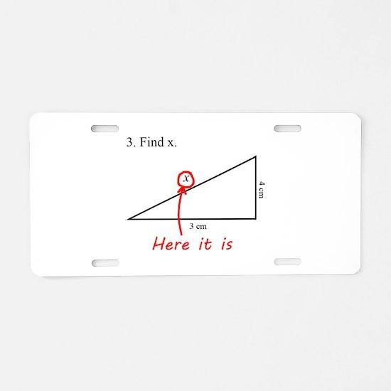 Find x Math Problem Aluminum License Plate