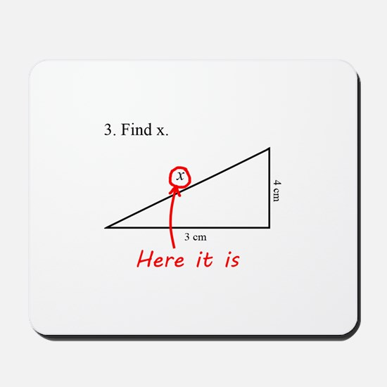 Find x Math Problem Mousepad