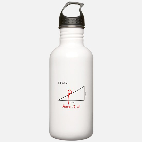 Find x Math Problem Sports Water Bottle