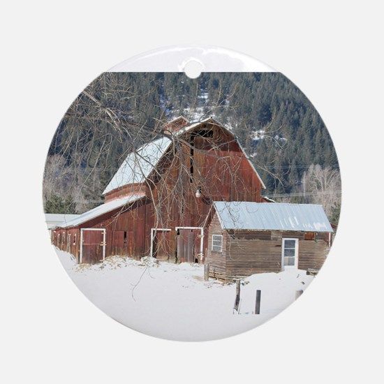 The Laclede Barn on a winters day Ornament (Round)