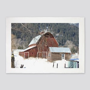 The Laclede Barn on a winters day 5'x7'Area Rug