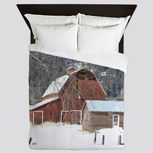 The Laclede Barn on a winters day Queen Duvet