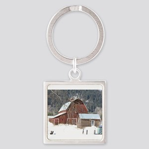 The Laclede Barn on a winters day Square Keychain