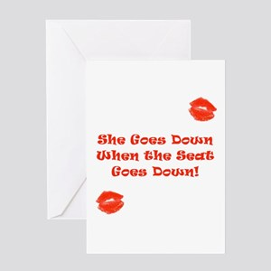 She Goes Down When the Seat Goes Down Card