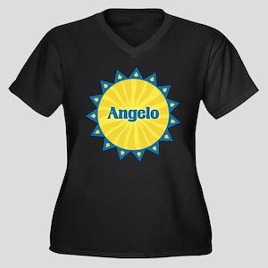Angelo Sunburst Women's Plus Size V-Neck Dark T-Sh
